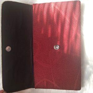 Bags - Burgundy/Tan Oversized Clutch